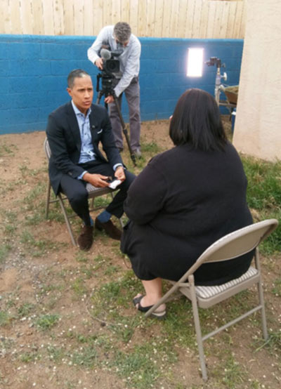 Miguel Almaguer from NBC Nightly News interviews Cara Valente